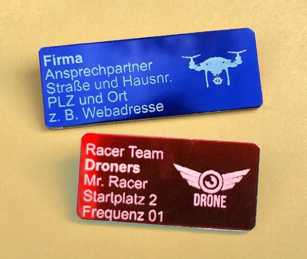 Logo-Plaketten zur Kennzeichnung von Drohnen
