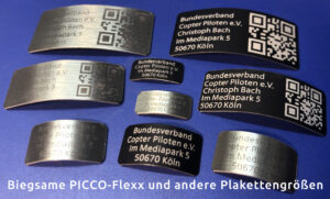 Biegsame Plakette als PICCO-Flexx und in anderen Plakettengrößen