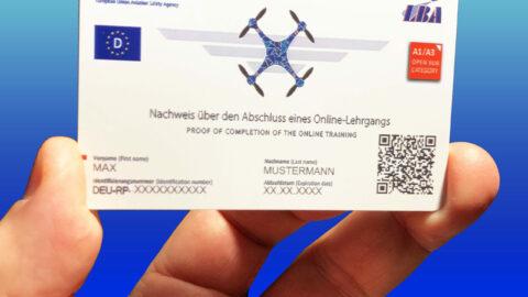 Ausweis EU-Drohnenführerschein im Scheck-Karten-Format